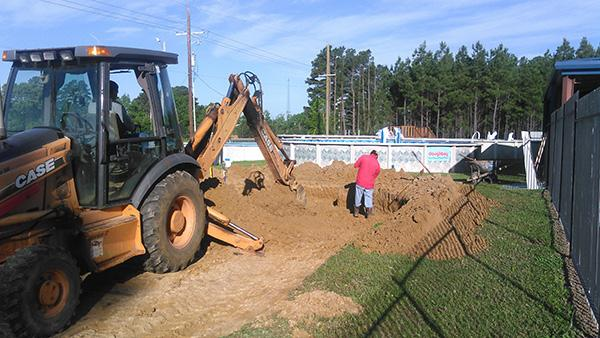 Digging out the area for the recessed pool and deep area