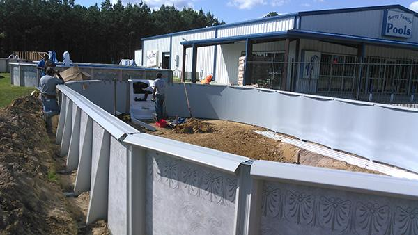 Side walls of the pool are in place