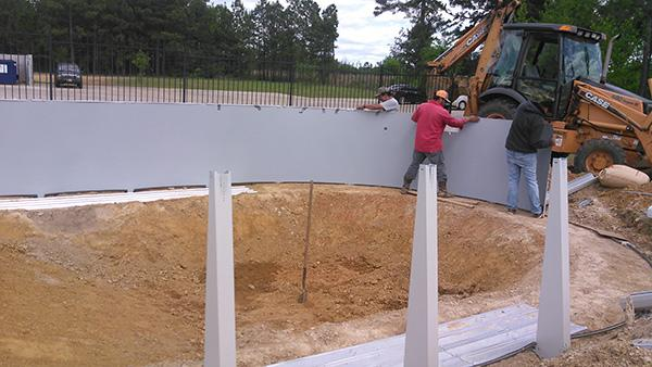 Side walls of the pool taking shape